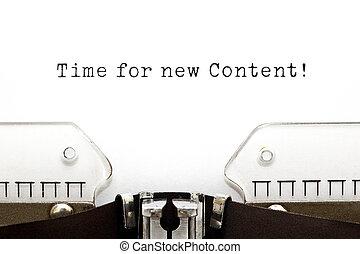 contenu, nouveau, temps, machine écrire