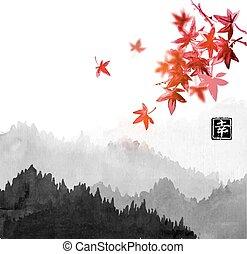 contient, oriental, hiéroglyphe, japonaise, brouillard, forêt, -, peinture, go-hua, u-sin, érable rouge, leaves., montagnes, encre, happiness., arbres, traditionnel, sumi-e