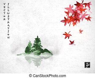 contient, oriental, japonaise, hiéroglyphe, fog., -, peinture, u-sin, rouge vert, érable, bonheur, pin, encre, go-hua., feuilles, arbres, traditionnel, sumi-e, île