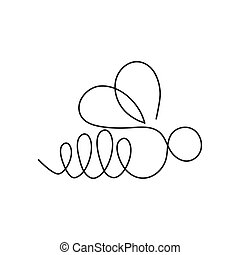 continu, bannière, formulaire, carte, affiche, flyer., moderne, bee., une, insecte, dessin ligne, logo