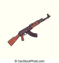 contour, ak-47., machine, assaut, vecteur, fusil, russe, automatique, style., icône