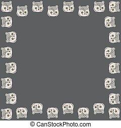 contour, brun, blanc, mignon, vector., ours peluche, salutation, dessin animé, faces, kawaii, ruddy, carte, impression, invitation, carrée, bannière, characters., autocollants, cadre, aimer, sombre, arrière-plan., joues