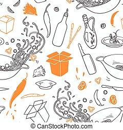contour, elements., restaurant, modèle, seamless, main, stylisé, hipster, fond, dessiné, wok