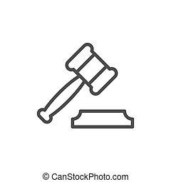 contour, enchère, juge, marteau, ligne, marteau, ou, icône