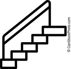 contour, escalier, style, icône