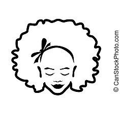contour, femme, africaine, vecteur, américain, main, cheveux, arrière-plan., noir, illustration, bouclé, beau visage, silhouette, dessin, arc, isolé, art, ligne blanche, dame, dessiné, girl, tête