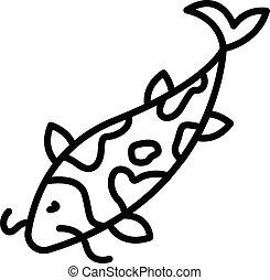 contour, fish, carpe, icône, koi, style