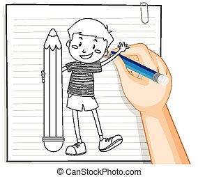 contour, garçon, tenue, écriture, main, crayon
