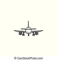 contour, griffonnage, main, devant, dessiné, avion, icon., vue