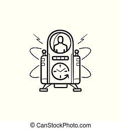 contour, griffonnage, main, machine, temps, dessiné, icon.