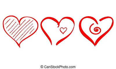 contour, icône, coeur, coup, forme, logo, brosse, amour, vecteur, dessiner