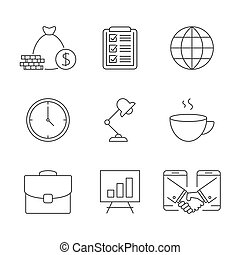 contour, icones affaires