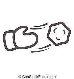 contour, jeter, hiver, design., saisonnier, mobile, blanc, concept, amusement, ligne, graphics., jouer, icône, icône, vecteur, année, boule de neige, boules neige, nouveau, main, activité, fond, signe, style, toile