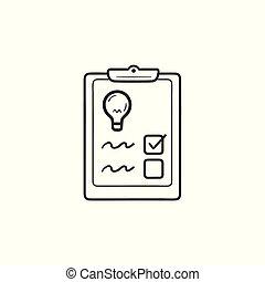 contour, lumière, liste contrôle, main, ampoule, dessiné, icon., griffonnage