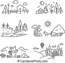 contour, nature, icônes, arbre, paysage, usines, rivière, montagnes