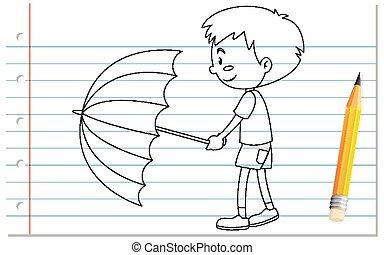 contour, parapluie, garçon, tenue, écriture, main