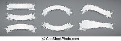 contour, plat, blanc, rubans, bannière, a tiret, ensemble, style, papier