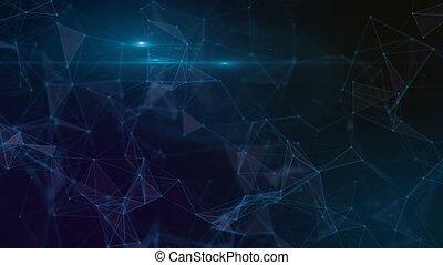 contour, plexus, résumé, bleu, animation, géométrique, color., fond, triangle
