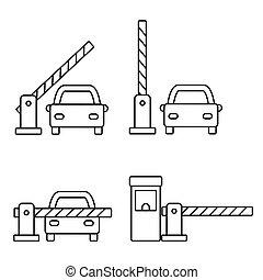 contour, portes, sécurité, icône, barrière, ensemble, vecteur, voiture