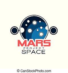 contour, projet, style, coloré, discovery., espace, écusson, astronomique, planet., emblème, plat, étiquette, vecteur, mars, logo, créatif, inscription., ou, icône