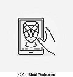 contour, reconnaissance, tablette, figure, vecteur, concept, icône