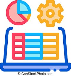 contour, vecteur, ordinateur portable, fonctionnement, illustration, icône