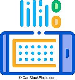 contour, vecteur, téléphone, intelligent, app, illustration, emmagasiner icône