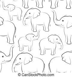contours, seamless, éléphants