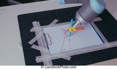 contrôlé, éloigné, dessine, bras robot