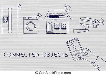 contrôlé, appareils, objets, connecté, maison, smartphone, intelligent