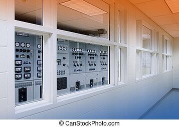 contrôle, électrique, salle