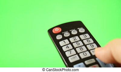 contrôle, éloigné, écran tv, isolé, vert