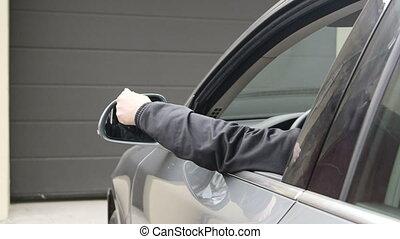 contrôle, éloigné, tenue, ouvert, voiture, chauffeur, garage, femme, porte, automatique