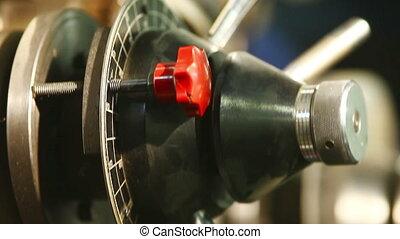 contrôle, énorme, machine, presse, moule, panneau