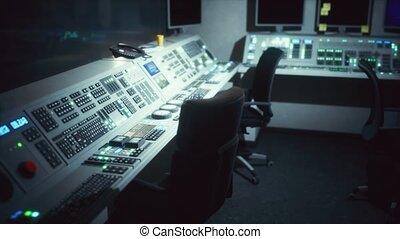 contrôle, équipement, central, salle, vide