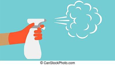 contrôle, anti, sanitizer.infection, concept., virus, pulvérisation