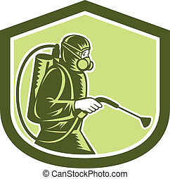 contrôle, bouclier, exterminateur, pulvérisation, casse-pieds, retro