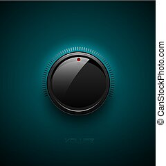 contrôle, bouton, turquoise, échelle, illustration., son, bouton, plastique, refléter, arrière-plan., icône, vecteur, noir, lustré, interface, musique, shadow., volume