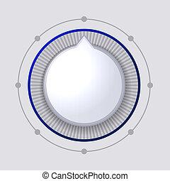 contrôle, cadran, bouton, volume, vecteur, blanc
