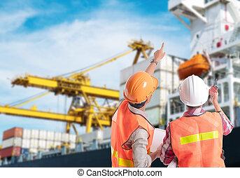 contrôle, chargement, récipient, pointage, port, ouvrier, dock, industriel, doigt