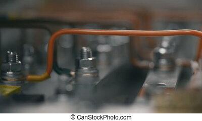 contrôle, electical, puissance, constructeur, câble, main, plante, électricien, ingénieurs, feeds., écrou, cabinet, serrer, fusible, électrique, boîte, travail, installation, box., inspecter