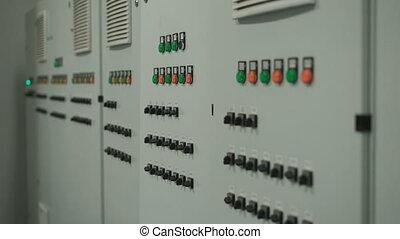 contrôle, gris, facilement, lotissements, grand, mouvement, switches., boutons, mur, appareil photo, équipement, factory., long, panneau électronique