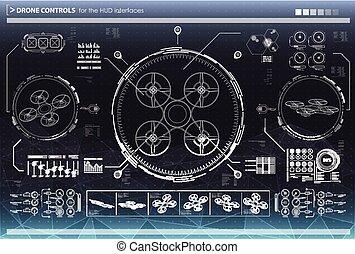 contrôle, hud, éléments, interfaces., ui, utilisateur, interface., drones., futuriste