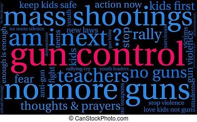 contrôle, nuage, fusil, mot