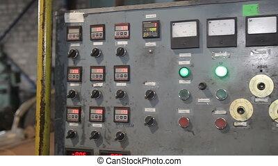 contrôle, production, vieux, panneau