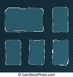 contrôle, sci, résumé, design., disposition, set., isolé, virtuel, hud, éléments, display., écran, illustration, utilisateur, fond, interface, fi, transparent, panneau, vecteur, technologie, futuriste