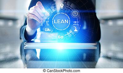 contrôle, sigma, gestion, processus, six, screen., virtuel, maigre, concept, fabrication, qualité