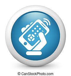 contrôle, smartphone, éloigné, icône