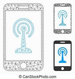 contrôle, smartphone, triangle, réseau, maille, vecteur, radio, modèle, mosaïque, icône