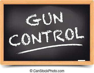 contrôle, tableau noir, fusil